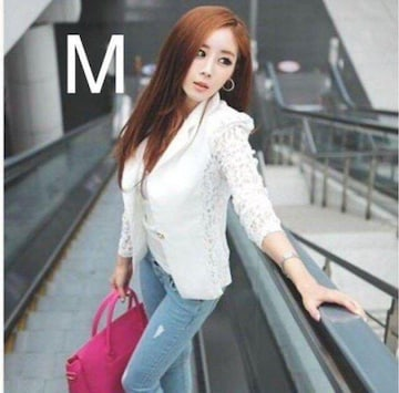 新品☆袖レース♪オシャレジャケット ホワイト M