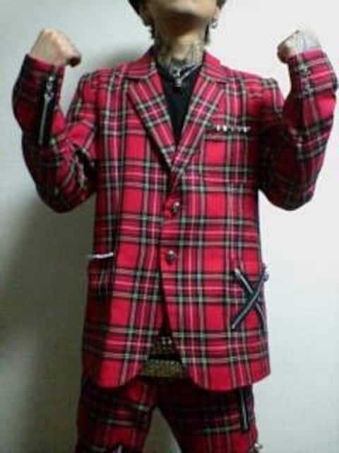 即決トライブワークスTRIBEWORKSチェックジップスーツ!ゴシックパンクロックhide雅 < 男性ファッションの