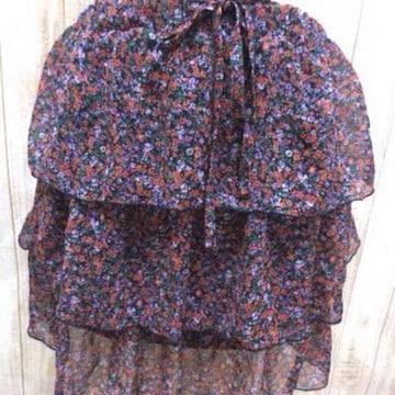 ジーナシス☆花柄 シフォン ティアード フリル ミニスカート