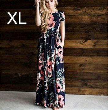 新品☆花柄キレイ♪マキシワンピース ブラック XL