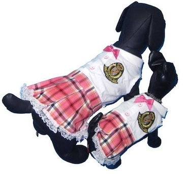 J02)Mサイズ!リボン付制服チェックつなぎワンピース犬服ワッペンセレブ