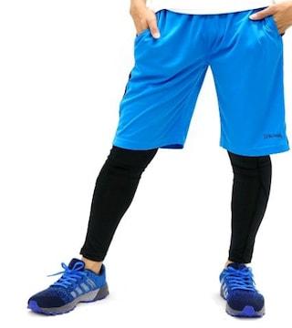 ランニングウェア コンプレッション タイツ青