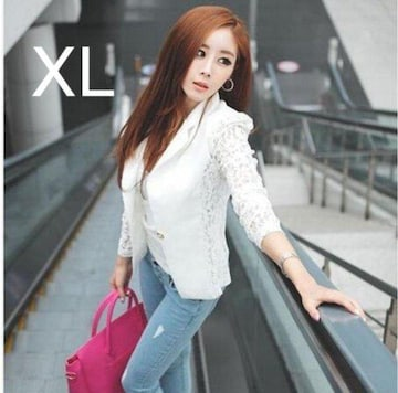 新品☆袖レース♪オシャレジャケット ホワイト XL