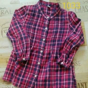 1033美品キッズUNIQLOチェックシャツワンピ*チュニックシャツ