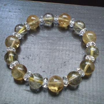 黄水晶・シトリンxルチルクォーツブレスレット
