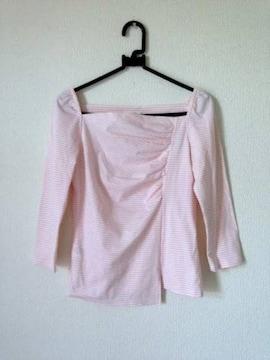 組曲◆ピンク ボーダー  カットソー ロングTシャツ サイズ2 M