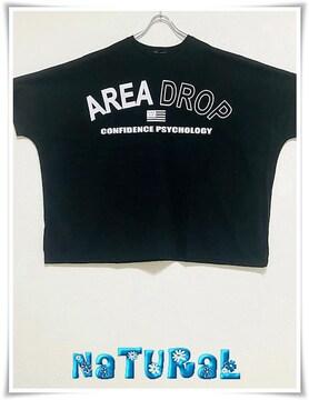 新作★大きいサイズ〜8L AREA DROPロゴBIGTシャツ/サイドスリット入*黒