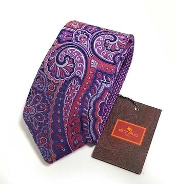 正規未使用エトロネクタイペイズリー刺繍紫パープルシル