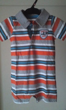 新品☆carter's12monthsボーダーポロシャツ風ロンパ♪