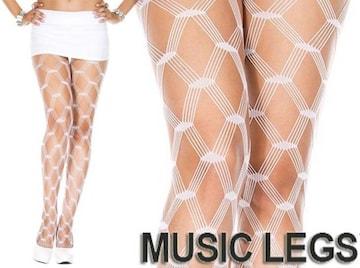 A401)MusicLegsダイヤモンドネットタイツ白ホワイトストッキングB系パーティーダンスダンサー