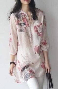 小花柄 シフォン ロングブラウス (XL寸・赤小花)