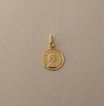 新品☆K18(18金)コインデザイン ペンダントトップ 小