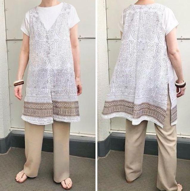 Kae's ペイズリー柄 ロングジレ インド綿 白 ホワイト < 女性ファッションの