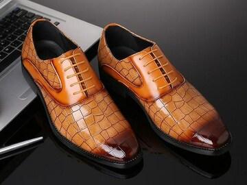 25.0 クロコ ドレスシューズ 靴 トンガリ メンズ ヤクザ オラオラ お兄系 ホスト 119 黄
