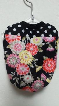 SALE ハンドメイド和花柄Tシャツ牡丹・赤・ドット・黒・犬用*SS