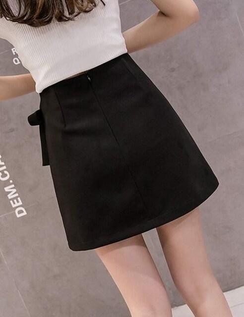 ハイウエスト ラップ巻スカート風 インナー付(L寸・黒) < 女性ファッションの