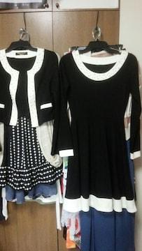 黒フレアワンピースジャケットスーツ2ピース白真珠フリーS〜M