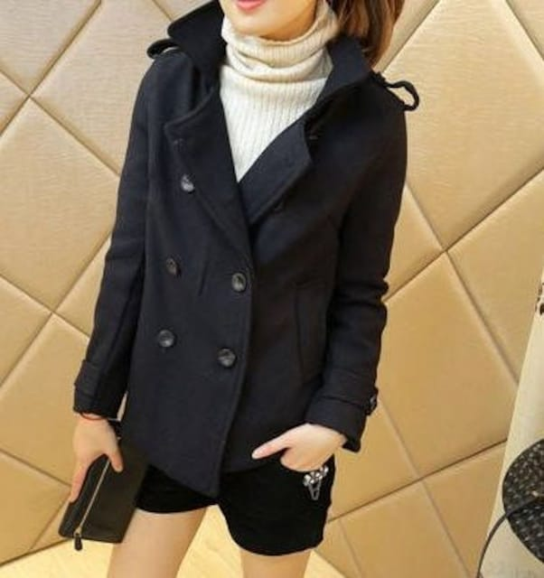 *送料無料*L★シンプルPコート ピーコート 黒 ブラック 即決  < 女性ファッションの