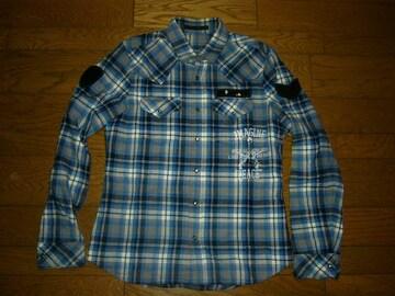 roarロアーウエスタンチェックシャツ2青系スパンコールワッペン