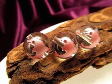 ☆かわいいピンク彫りイルカのビーズ☆天然水晶10mm@1個