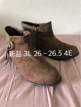 新品☆3L26〜26.5�p飾りファスナーショートブーツ☆j103