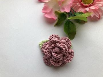 ハンドメイド ブローチ コサージュ  レース糸で編んだ薔薇♪