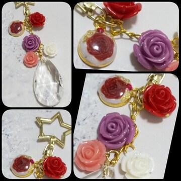 No.175*レジンの薔薇と練り珊瑚薔薇のキーホルダー*