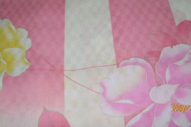 子供用高級浴衣★女の子140★ピンク牡丹花柄 < キッズ/ベビーの