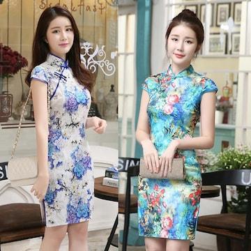 2色 ショート丈 チャイナドレス チャイナ服