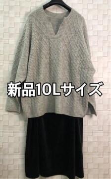 新品☆10L♪ナチュラル系おしゃれニット&楽ちんスカート☆h117
