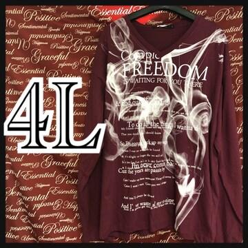 4L・スモークロゴVネックロンT新品/MCG-012