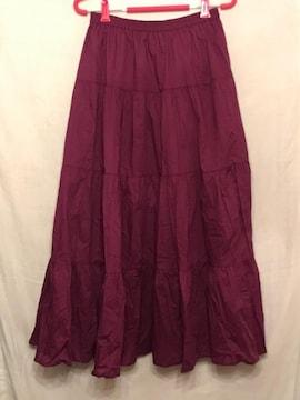 GU ティアードフレアロングスカート パープル XL