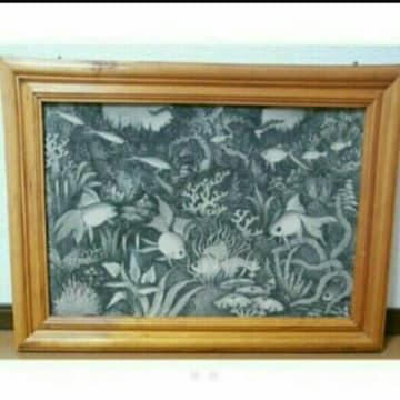 水彩画 自然風景画 魚 海 絵画 インテリア アジアン 絵 バリ海外