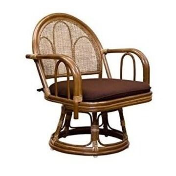 ラタン 回転座椅子 ミドルタイプ IM-14BR ブラウン