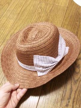 明るい茶色に紫白ストライプリボンヒモ付きウエスタン麦わら帽子