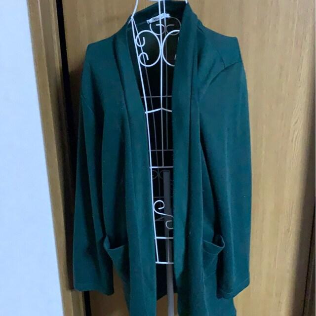 グリーン★ナチュラル★カーディガン★シンプル 3L  < 女性ファッションの