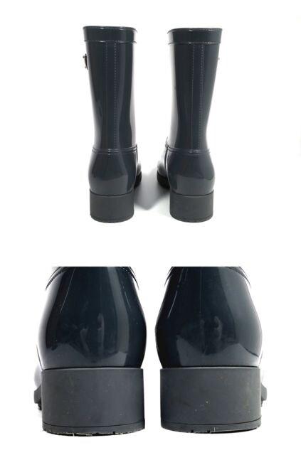 正規プラダレインブーツ長靴ラバーグレープレート付 < ブランドの