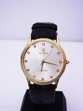 送料込 CYMA シーマLe Locle C13 K18 クォーツ 時計 男性用★dot