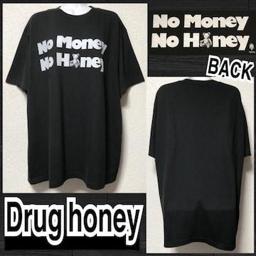 【新品/Drug honey/XL】スケルトンテディロゴプリントTシャツ