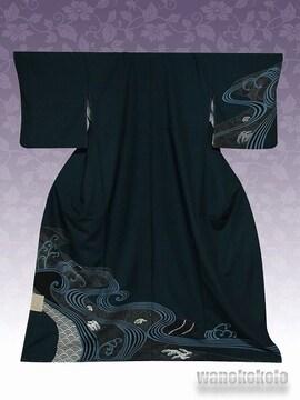 【和の志】洗える着物◇袷・付下げ◇深緑系・青海波◇KTK-106