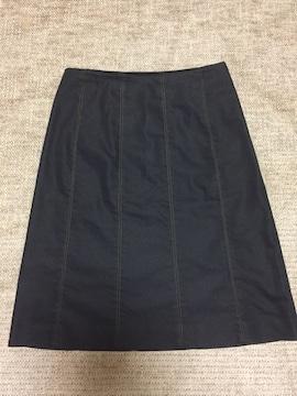 813.アンタイトル☆インディゴ風ひざ丈スカート☆サイズ2