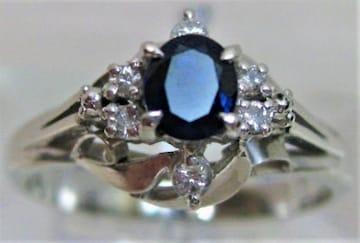 Pt900プラチナ リング指輪サファイヤ0.41ctダイヤ6P 0.10ct