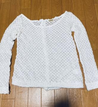 美品 ニット 鍵編み レース トップス カットソー