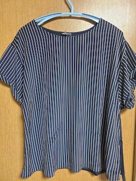 INDIVI昨季新品ネイビー半袖ストライプカットソーTシャツ大きいサイズ4212号13号