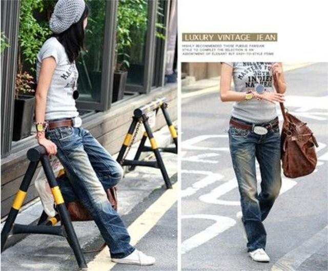ユーズド風ローライズ★ウォッシュ★デニムパンツ(XLサイズ) < 女性ファッションの
