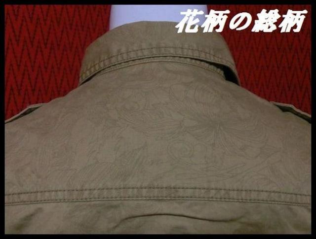 ★in the attic★花柄総柄ミリタリーシャツ 五分袖/BE/LL 特価 < 男性ファッションの