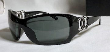 正規良 シャネルCHANEL ダブルココマークロゴ スポーティーサングラス黒×クローム 付属有