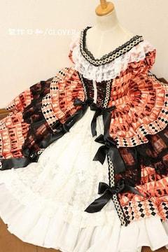 オレンジ×黒 チェス柄ミドル丈ドレス Mサイズ