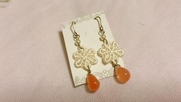 きなりお花モチーフ&オレンジ雫ビーズピアス*ハンドメイド