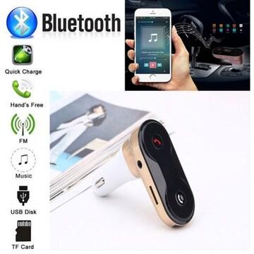 Bluetooth FMトランスミッター 音楽 電話 スマホ SDカード 金